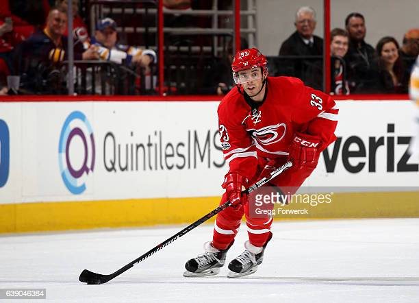 Derek Ryan of the Carolina Hurricanes skates with the puck during an NHL game against the Buffalo Sabres on January 13 2017 at PNC Arena in Raleigh...