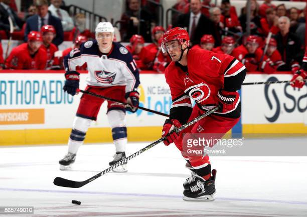 Derek Ryan of the Carolina Hurricanes skates with the puck during an NHL game against the Columbus Blue Jackets on October 10 2017 at PNC Arena in...