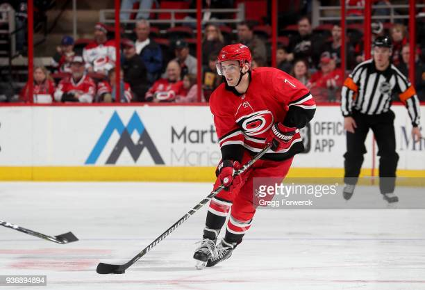 Derek Ryan of the Carolina Hurricanes skates with the puck during an NHL game against the Edmonton Oilers on March 20 2018 at PNC Arena in Raleigh...