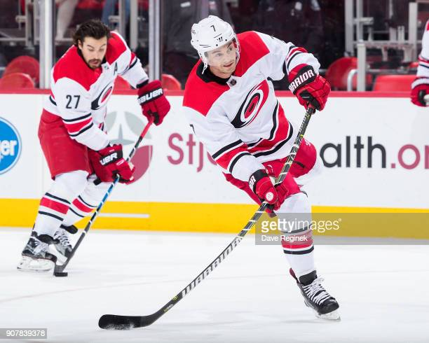 Derek Ryan of the Carolina Hurricanes takes a shot during warmups prior to an NHL game against the Detroit Red Wings at Little Caesars Arena on...