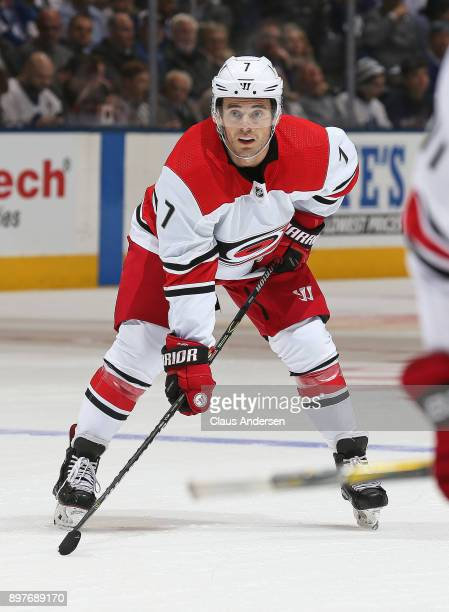 Derek Ryan of the Carolina Hurricanes waits for a faceoff against the Toronto Maple Leafs during an NHL game at the Air Canada Centre on December 19...