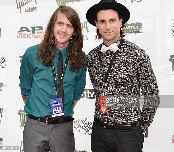 Derek Sanders and Alex Garcia of Mayday Parade attend the 2015 Journeys AP Music Awards Fueled by Monster Energy Drink at Quicken Loans Arena on July...
