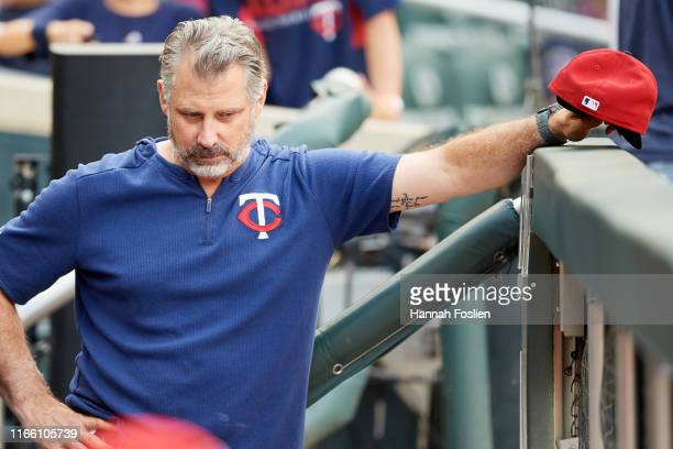 Derek Shelton of the Minnesota Twins looks on before the game against the Kansas City Royals on August 2 2019 at Target Field in Minneapolis...