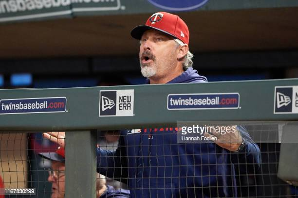 Derek Shelton of the Minnesota Twins reacts in the dugout during the game against the Cleveland Indians on August 9 2019 at Target Field in...