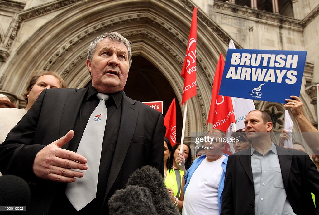 Derek Simpson (L), the Joint General Secretary of the Unite union, speaks to the media outside the High Court after the court overturned a ban on strike action by BA cabin crew on May 20, 2010 in London, England. The High Court had previously granted British Airways an injunction against industrial action by cabin crew over failings by the Unite union in their reporting of the results of its strike ballot to members.