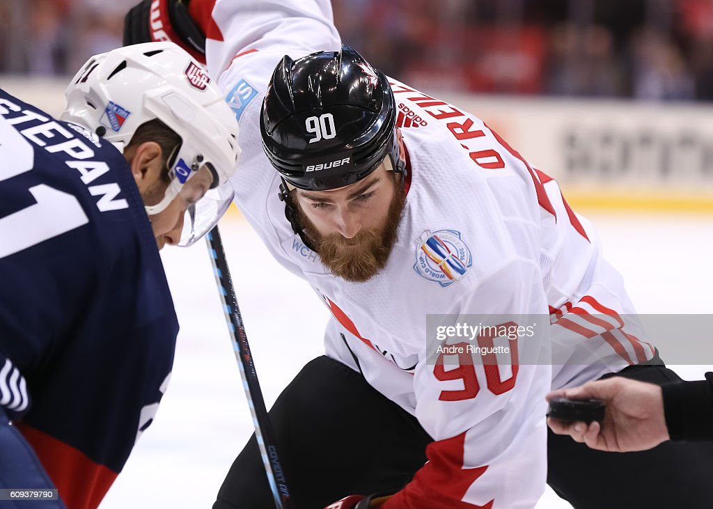 Derek Stepan #21 of Team USA faces-off against Ryan O'Reilly #90 of Team Canada during the World Cup of Hockey 2016 at Air Canada Centre on September 20, 2016 in Toronto, Ontario, Canada.