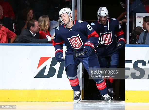 Derek Stepan of Team USA takes to the ice prior to the game against Team Canada during the World Cup of Hockey 2016 at Air Canada Centre on September...