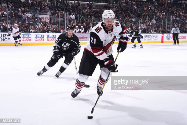 Derek Stepan of the Arizona Coyotes handles the puck during a game against the Los Angeles Kings at STAPLES Center on September 28 2017 in Los...
