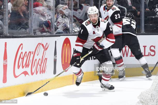 Derek Stepan of the Arizona Coyotes handles the puck during a game against the Los Angeles Kings at STAPLES Center on February 3 2018 in Los Angeles...