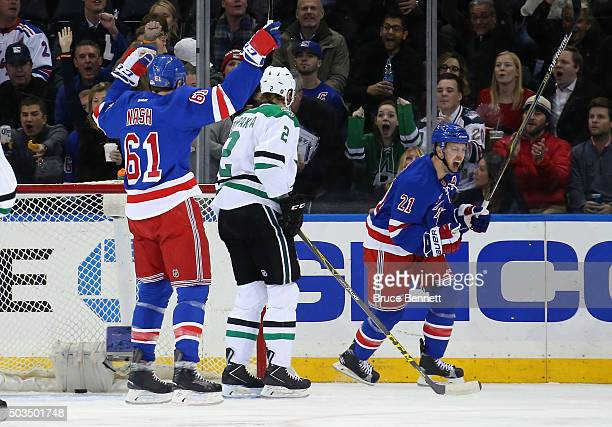 Derek Stepan of the New York Rangers celebrates his goal at 156 of the first period against the Dallas Stars at Madison Square Garden on January 5...