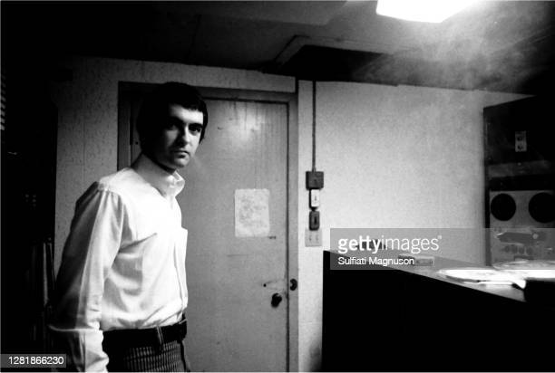 Derek Taylor, the Beatles' Publicist for the US, is seen in 1968 recording his weekly radio show at KRLA in Pasadena, CA. His wit, charm, style and...