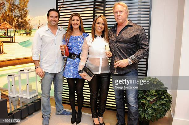 Derek Thackrey Giselle Thackrey Drea Vernazza and Greg Howard attend Luxury Living Showroom Art Basel Miami Beach Event on December 3 2014 in Miami...