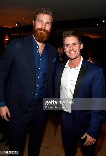 Derek Theler and Linc Hand attend Paramount Network's 68 Whiskey Premiere Party at Sunset Tower on January 14 2020 in Los Angeles California