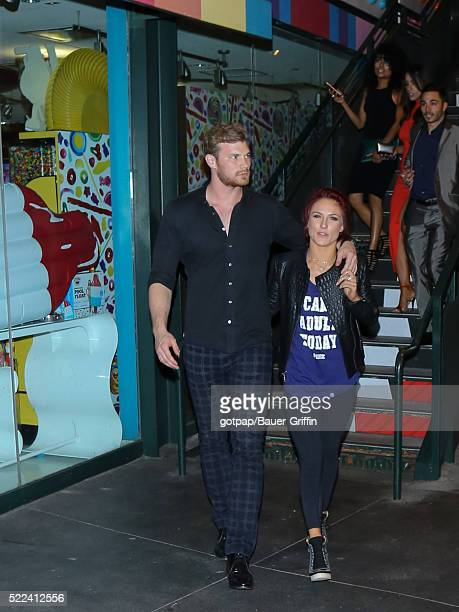 Derek Theler and Sharna Burgess are seen on April 18 2016 in Los Angeles California