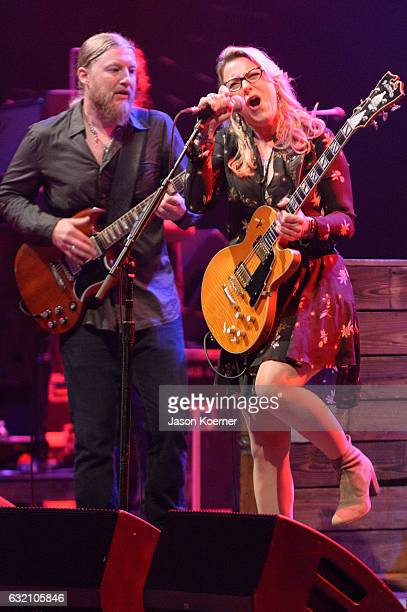Derek Truck and Susan Tedeschi of the Tedeschi Trucks Band perform on stage at Mizner Park Amphitheater on January 15 2017 in Boca Raton Florida