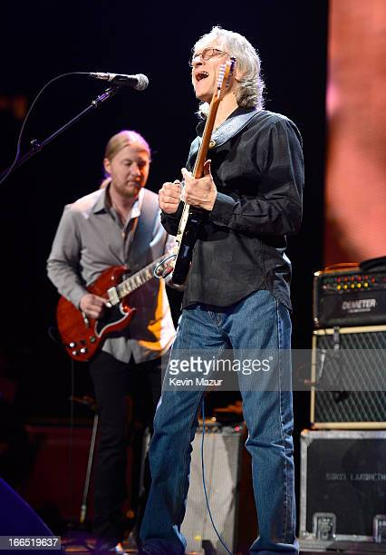 Derek Trucks and Sonny Landreth perform on stage during the 2013 Crossroads Guitar Festival at Madison Square Garden on April 13 2013 in New York City