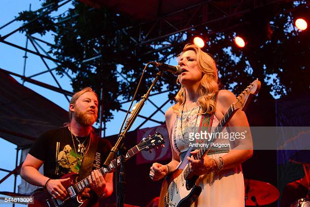 Derek Trucks and Susan Tedeschi of Tedeschi Trucks Band perform onstage at Waterfront Blues Festival at Tom McCall Waterfront Park on July 1 2016 in...