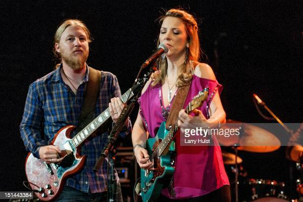 Derek Trucks and Susan Tedeschi performing with the Tedeschi Trucks Band at Red Rocks Amphitheater in Morrison Colorado on August 30 2012