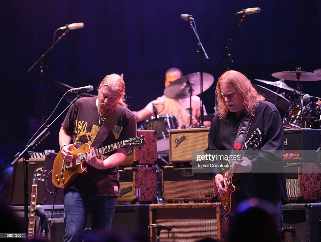 Derek Trucks and Warren Haynes of The Allman Brothers Band perform at The Beacon Theatre on October 28, 2014 in New York City.