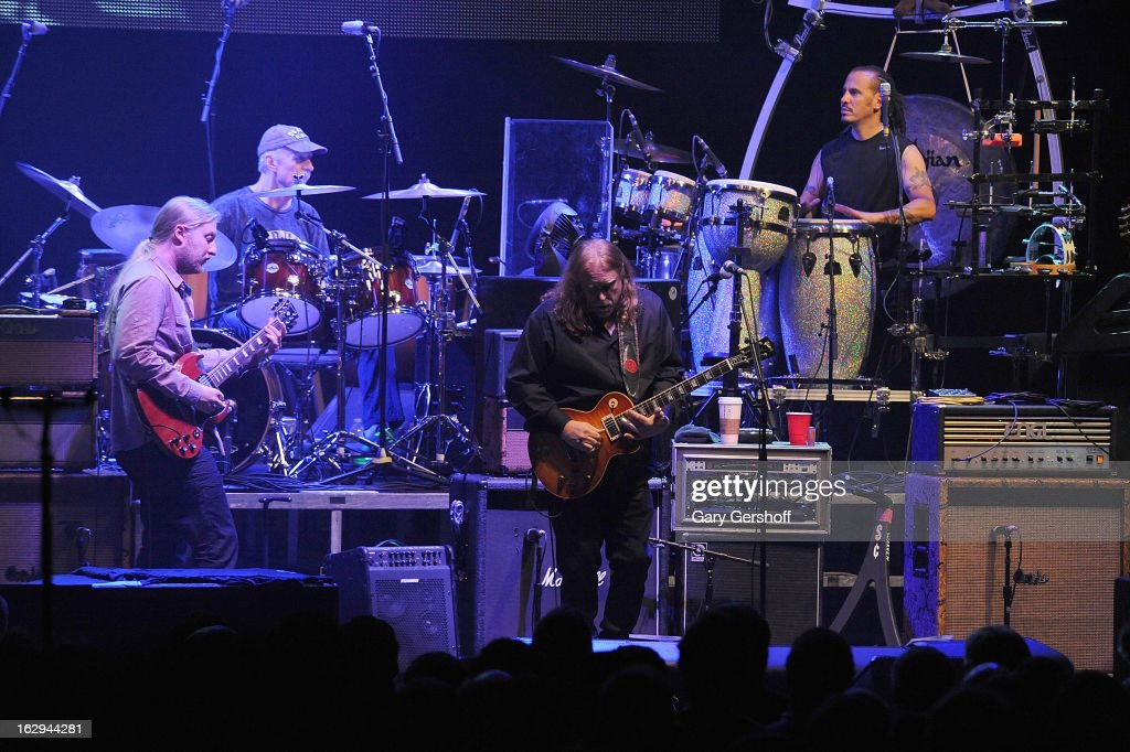 Derek Trucks, Butch Trucks, Warren Haynes and Marc Quinones of The Allman Brothers band perform at the Beacon Theatre on March 1, 2013 in New York City.