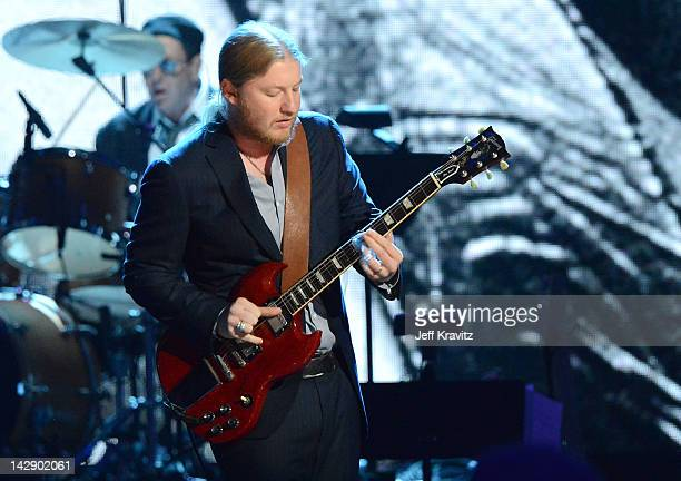 Derek Trucks of the Allman Brothers Band performs on stage at the 27th Annual Rock And Roll Hall Of Fame Induction Ceremony at Public Hall on April...