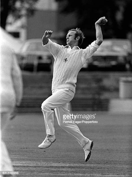 Derek Underwood bowling for Kent at the St Lawrence Ground Canterbury circa June 1975