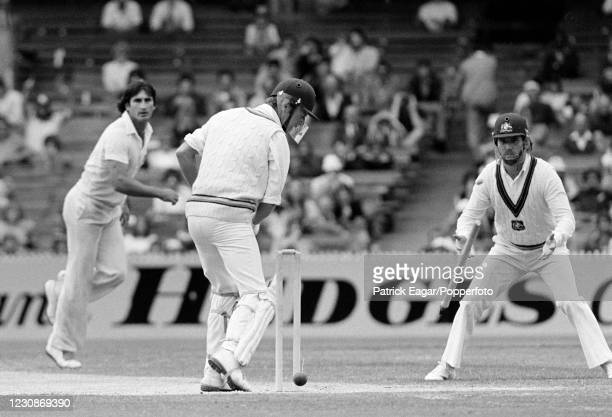 Derek Underwood of England is bowled for 0 by Len Pascoe of Australia during the 3rd Test match between Australia and England at the MCG, Melbourne,...