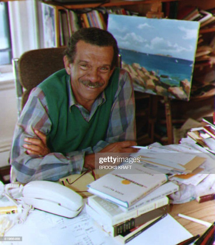 Derek Walcott, a Boston University English professor, sits in his home office in Brookline, MA after winning the Nobel Prize for Literature 08 October, 1992. Walcott, who was born in the West Indies, teaches literature and creative writing.