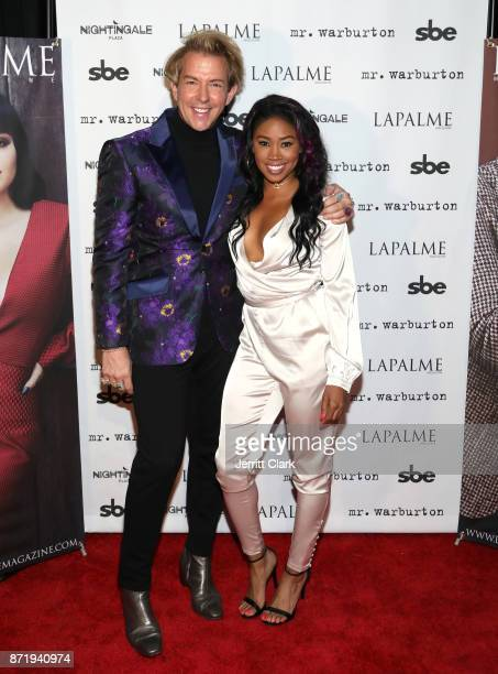 Derek Warburton CoOwner and Creative Director of LAPALME Magazine and Ariane Andrew attend LaPalme Magazine fall cover party at Nightingale Plaza on...