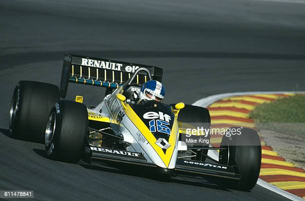 Derek Warwick of Great Britain drives the Equipe Renault Elf Renault RE60B Renault V6T turbo during the Shell Oils Grand Prix of Europe on 6 October...