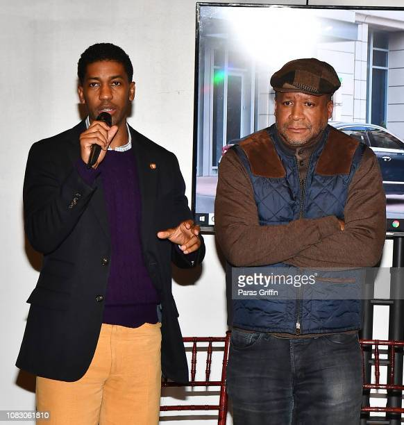 Derek Watkins aka Fonzworth Bentley and Munson Steed Founder/Publisher Steed Media Group speak onstage during the Rolling Out and Buick presents...