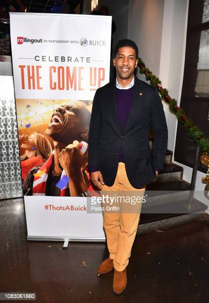 Derek Watkins aka Fonzworth Bentley attends the Rolling Out and Buick presents 'Celebrate The Come Up' Game Day Lounge at The Loft At Castleberry...