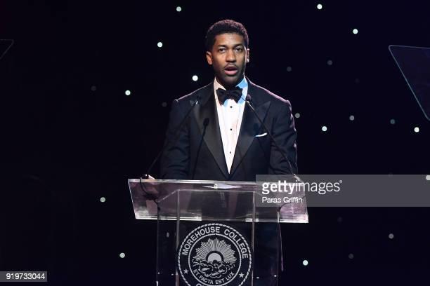 Derek Watkins aka Fonzworth Bentley speaks onstage at Morehouse College 30th Annual A Candle In The Dark Gala at The Hyatt Regency Atlanta on...