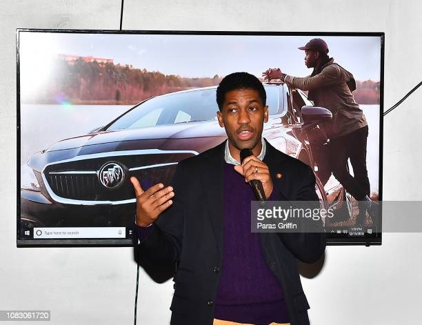 Derek Watkins aka Fonzworth Bentley speaks onstage during the Rolling Out and Buick presents 'Celebrate The Come Up' Game Day Lounge at The Loft At...