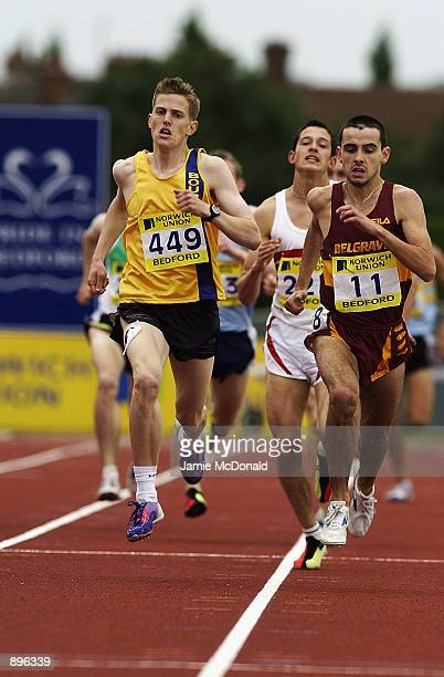Derek Watson of Belgrave Harriers and Colin McCoirt of Bournemouth in action in the 1500 metres final during the Norwich Union European Trials and...