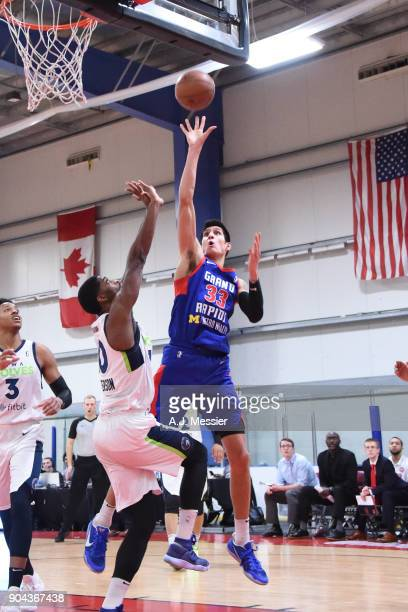 Derek Willis of the Grand Rapids Drive shoots the ball against the Iowa Wolves NBA G League Showcase Game 20 between the Grand Rapids Drive and the...