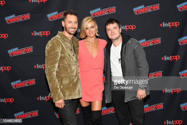 Derek Wilson Eliza Coupe and Josh Hutcherson attend the Future Man panel during New York Comic Con at Jacob Javits Center on October 6 2018 in New...