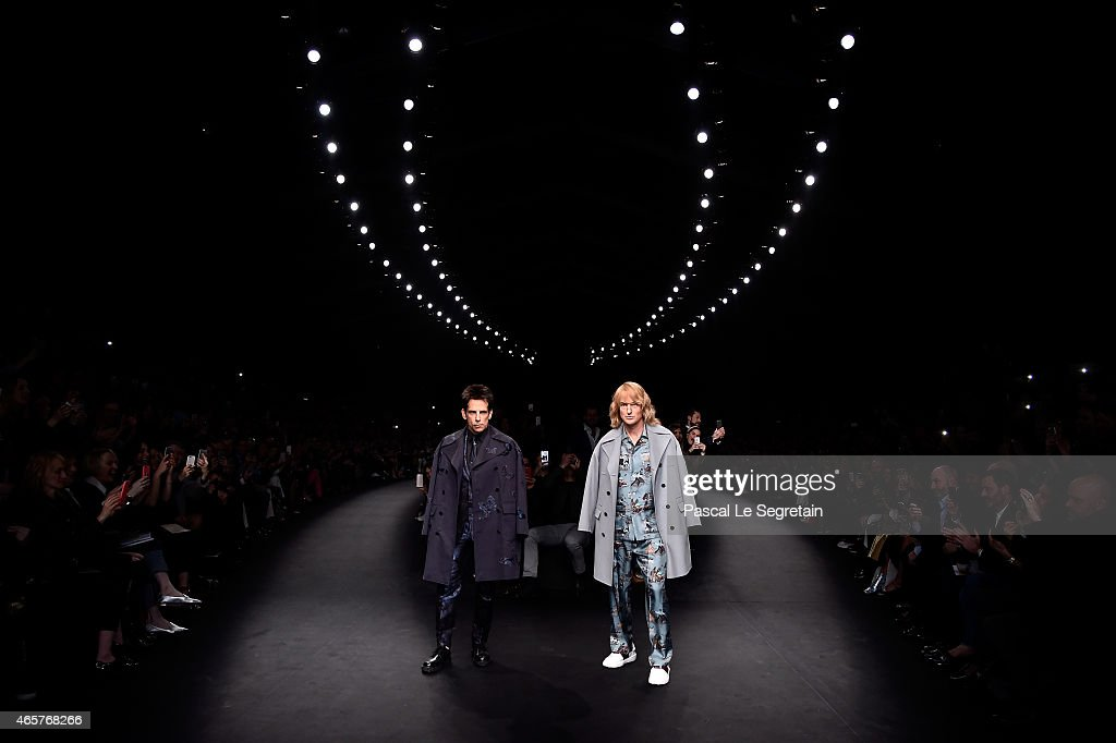 Derek Zoolander and Hansel walk the runway at the Valentino Fashion Show during Paris Fashion Week at Espace Ephemere Tuileries on March 10, 2015 in Paris, France. ZOOLANDER 2 will open in theaters in the U.S. on February 12, 2016.