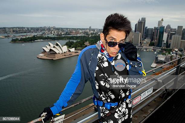 Derek Zoolander poses at a special stunt to promote the release of Paramount Pictures film 'Zoolander No 2' at the Sydney Harbour Bridge on January...