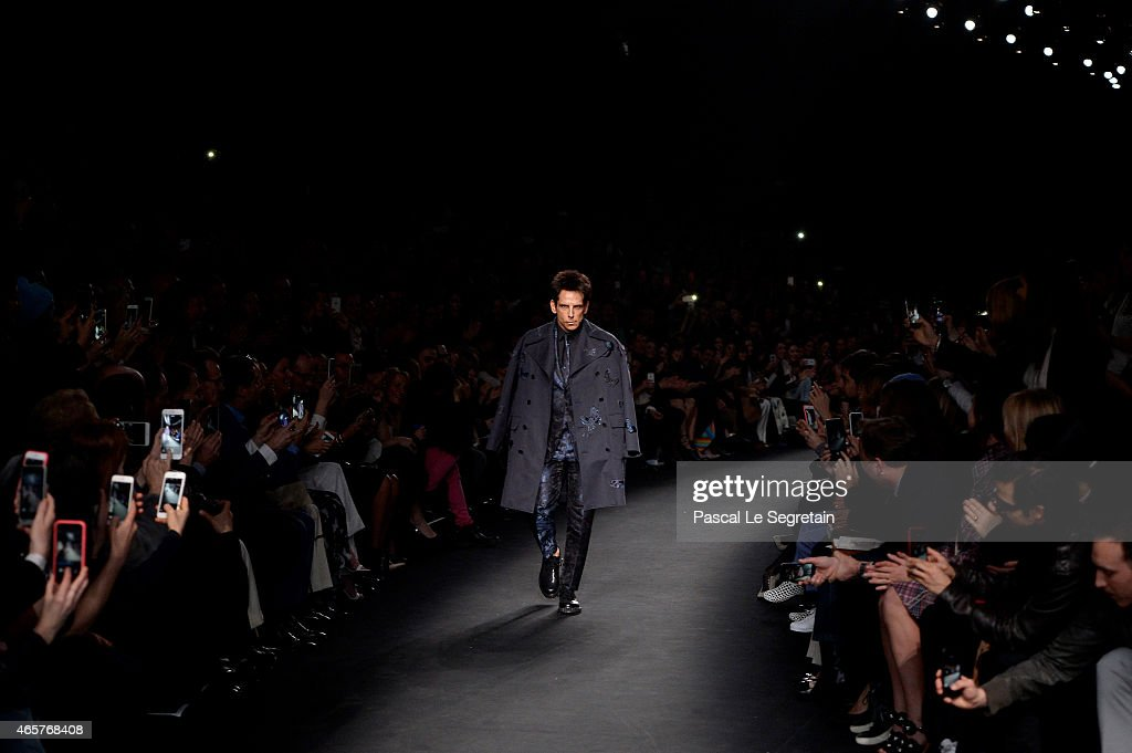 Derek Zoolander walks the runway at the Valentino Fashion Show during Paris Fashion Week at Espace Ephemere Tuileries on March 10, 2015 in Paris, France. ZOOLANDER 2 will open in theaters in the U.S. on February 12, 2016.