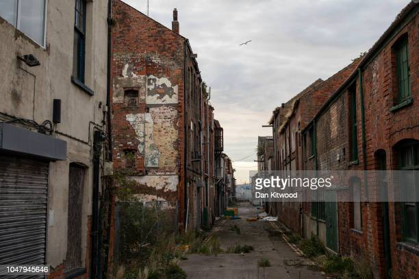 A derelict area of Grimsby Fish docks called 'The Kasbah' once home to many fish processing businesses on October 8 2018 in Grimsby England Grimsby...