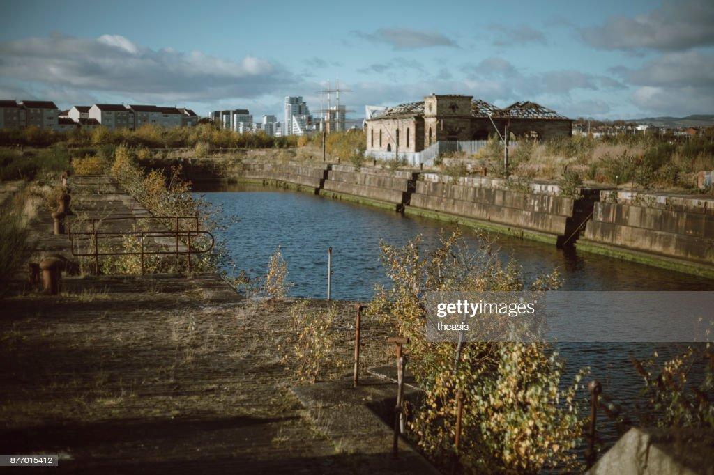 Derelict Glasgow Docks : Stock Photo