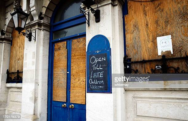 derelict pub - business closing stock photos and pictures