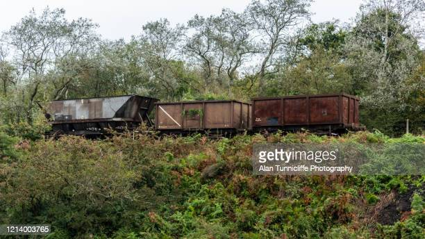 derelict railway carriages - horsedrawn stock pictures, royalty-free photos & images