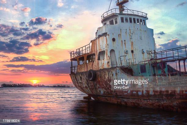 Derelict Ship at Sunset