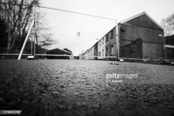 derelict terrace house awaiting demolition - aberfan stock pictures, royalty-free photos & images