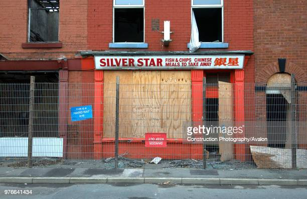 Derelict terraced Victorian houses waiting demolition, Salford, near Manchester, England, UK Salford's regeneration objective is to ensure that each...