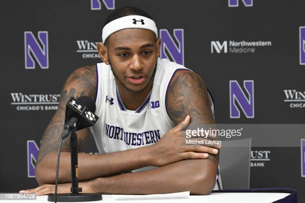 Dererk Pardon of the Northwestern Wildcats addresses the media after a college basketball game against the American University Eagles at the...