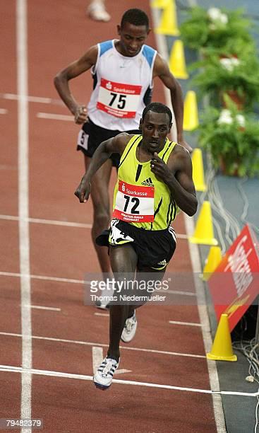 Deresse Mekkonen and Mekonnen Gebremehdin both of Ethiopia are seen at the 1500m run during the Sparkassen Cup 2008 at the Hanns-Martin Schleyer Hall...