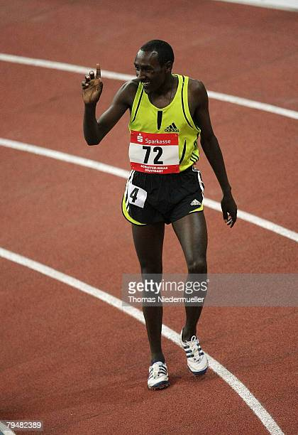 Deresse Mekkonen of Ethiopia celebrates after the 1500m run during the Sparkassen Cup 2008 at the Hanns-Martin Schleyer Hall on February 2, 2008 in...